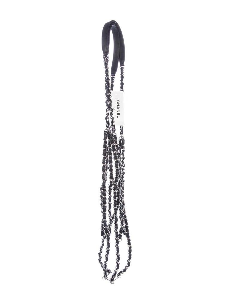 Chanel NEW Black Leather Basketball Silver Chain Harness Strap Decorative in Box In New Condition In Chicago, IL