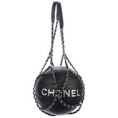 Chanel NEW Black Leather Basketball Silver Chain Harness Strap Decorative in Box