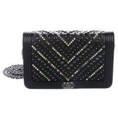 Chanel NEW Black Leather Crystal Stud Small Evening Shoulder Flap Bag in Box