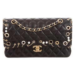Chanel NEW Black Leather Gold Charm Chain Pearl Shoulder Flap Bag in Box