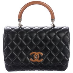 Chanel NEW Black Leather Wood Top Handle Satchel Kelly Shoulder Flap Bag in Box