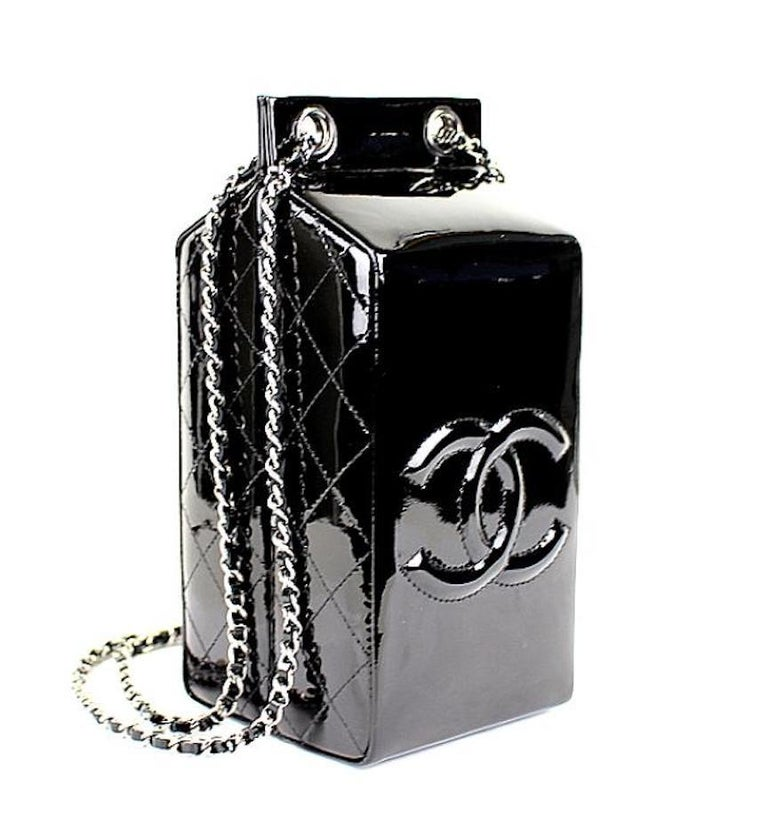 Chanel NEW Runway Black Patent Leather Silver Milk Carton Evening Shoulder Bag in Box  Patent leather  Silver tone hardware  Woven lining  Made in Italy  Date code present  Measures 3.5