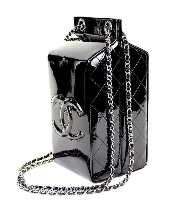 Chanel NEW Black Patent Leather Silver Milk Carton Evening Shoulder Bag in Box In New Condition For Sale In Chicago, IL