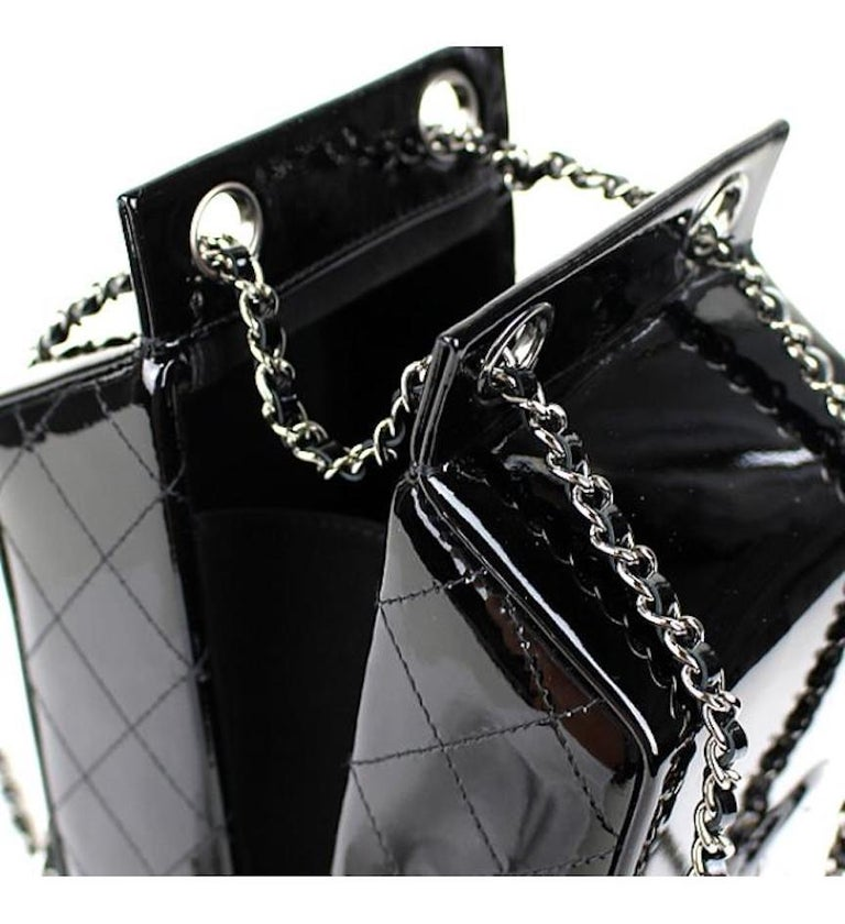 Women's Chanel NEW Black Patent Leather Silver Milk Carton Evening Shoulder Bag in Box For Sale