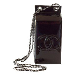 Chanel NEW Black Patent Leather Silver Milk Carton Evening Shoulder Bag in Box