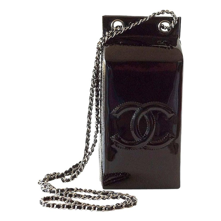 Chanel NEW Black Patent Leather Silver Milk Carton Evening Shoulder Bag in Box For Sale