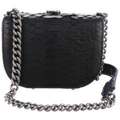 Chanel NEW Black Snakeskin Exotic Leather Silver Small Mini Shoulder Flap Bag