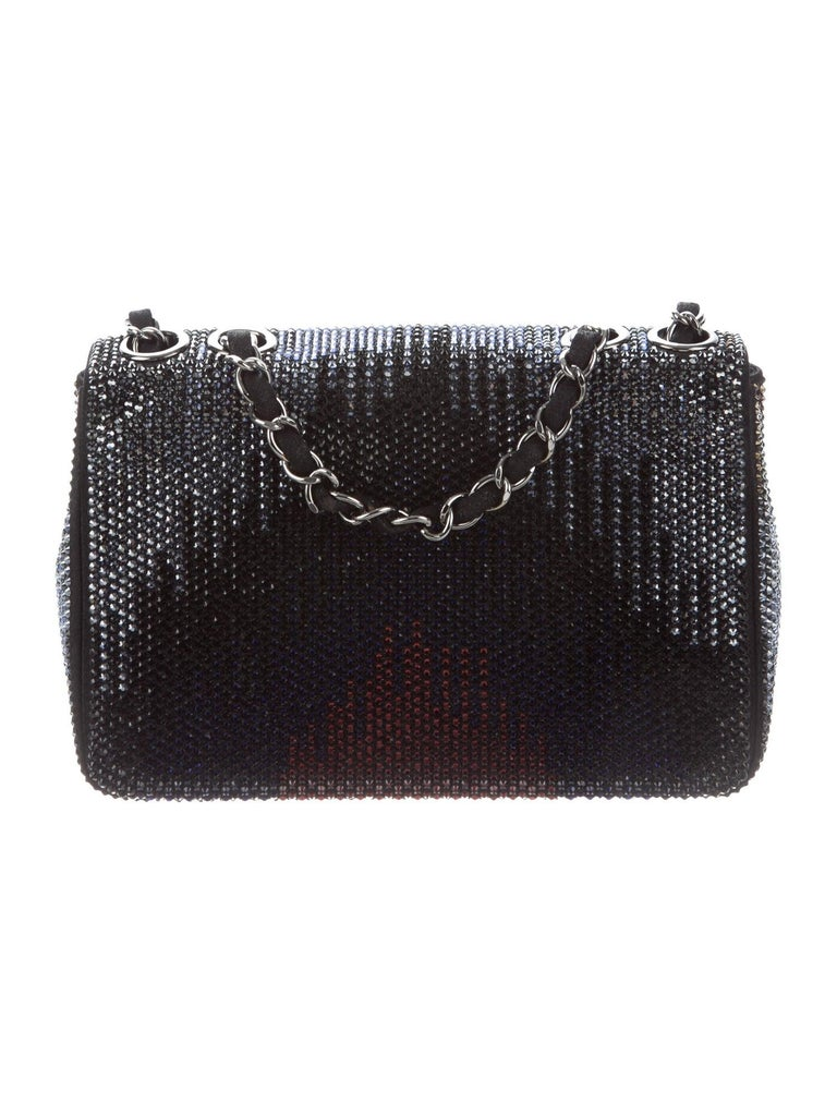 Chanel NEW Black Suede Multi Swarovski Crystal Silver Small Shoulder Flap Bag In New Condition For Sale In Chicago, IL