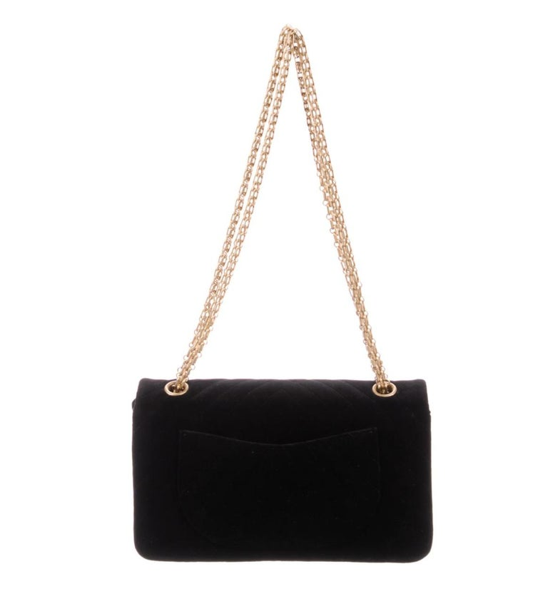 Chanel NEW Black Velvet Chevron Gold Medium Evening Flap Shoulder Bag in Box In New Condition For Sale In Chicago, IL