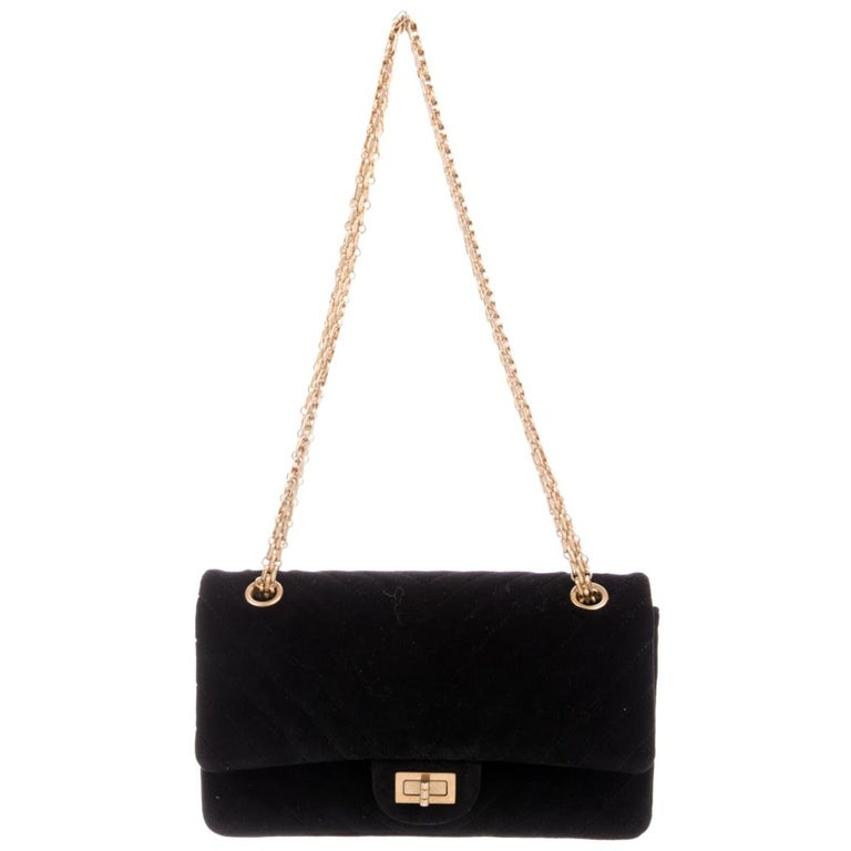 Chanel NEW Black Velvet Chevron Gold Medium Evening Flap Shoulder Bag in Box For Sale