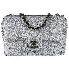 Chanel NEW Black White Logo Silver Small Sequin Evening Shoulder Flap Bag in Box