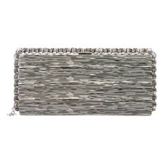 Chanel NEW Black White Patent Leather Silver Chain Wraparound Evening Clutch Bag