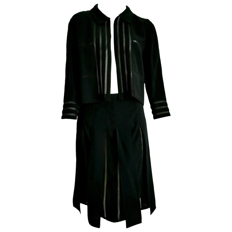 "CHANEL ""New"" Black with Transparent Stripes Wool Skirt Suit - Unworn  For Sale"