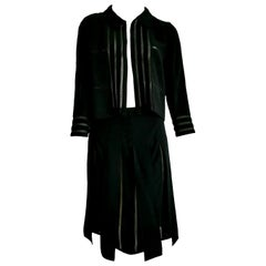 "CHANEL ""New"" Black with Transparent Stripes Wool Skirt Suit - Unworn"