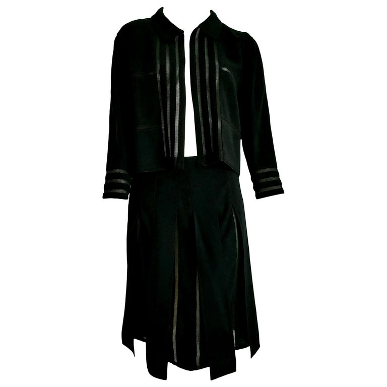 """CHANEL """"New"""" Black with Transparent Stripes Wool Skirt Suit - Unworn  For Sale"""