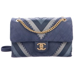 Chanel NEW Blue Leather Snakeskin Chevron Medium Evening Shoulder Flap Bag