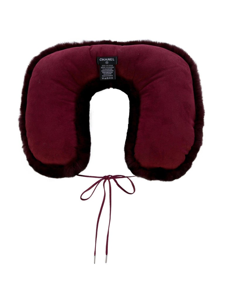 Chanel NEW CC Bordeaux Orylag Fur Drawstring Men's Women's Travel Neck Pillow For Sale 1