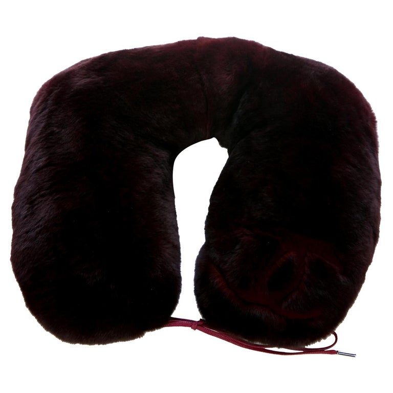 Chanel NEW CC Bordeaux Orylag Fur Drawstring Men's Women's Travel Neck Pillow For Sale