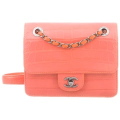 Chanel NEW Coral Alligator Exotic Silver Leather Small Evening Shoulder Flap Bag
