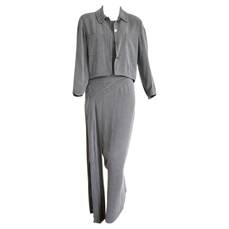"CHANEL ""New"" Couture Jacket and Long Dress Silk Grey Suit - Unworn  For Sale"