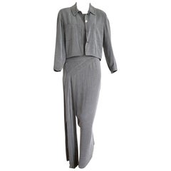 "CHANEL ""New"" Couture Jacket and Long Dress Silk Grey Suit - Unworn"