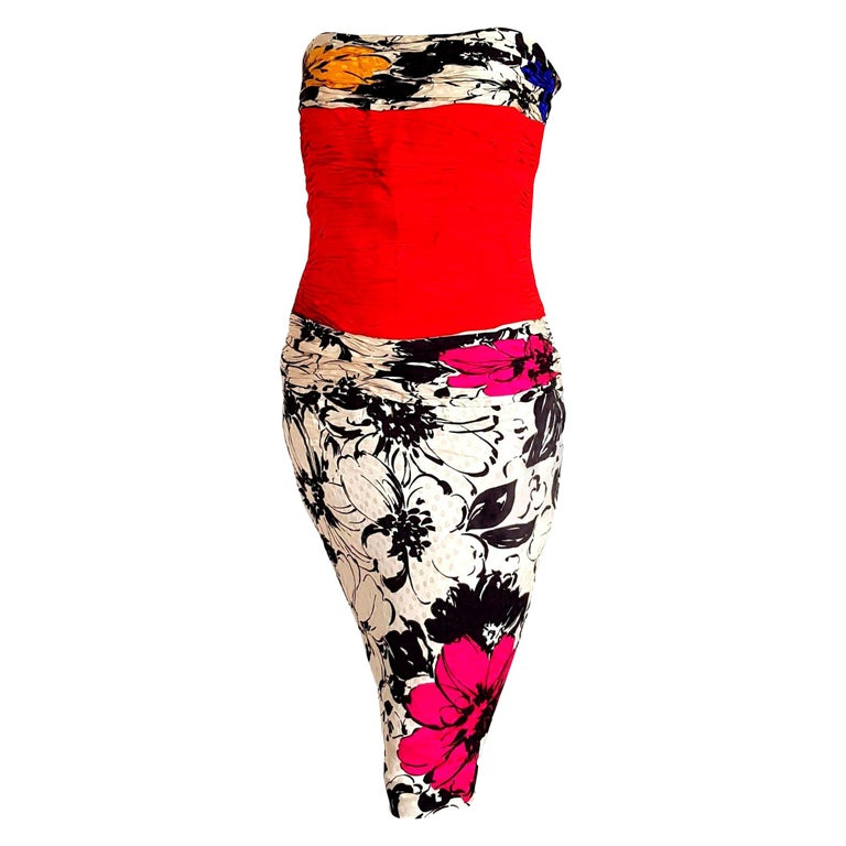 """CHANEL """"New"""" Couture Strapless Colorful Flowers Theme Silk Gown Dress - Unworn   For Sale"""
