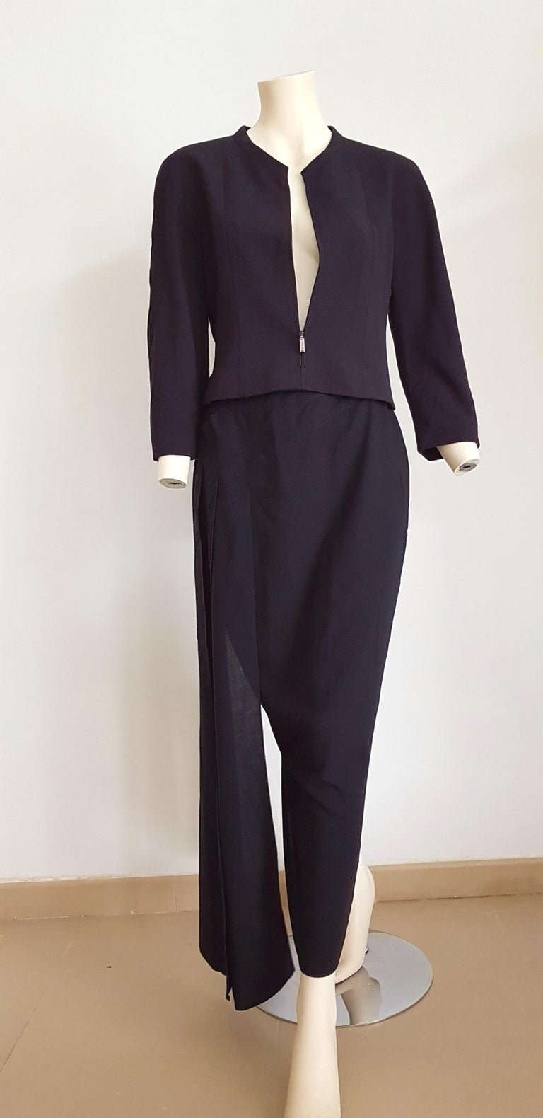 CHANEL dark blue, front zip short jacket, skirt with drape, wool, silk lined - Unworn   SIZE: equivalent to about Small / Medium, please review approx measurements as follows in cm.  JACKET: lenght 50, chest underarm to underarm 47, bust