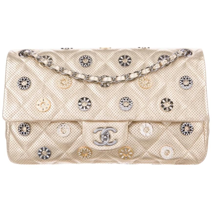 Chanel NEW Gold Leather Gold Silver Gunmetal Charms Evening Shoulder Flap Bag