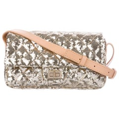 Chanel NEW Gold Sequin Tan Leather Small Evening Shoulder Single Flap in Box