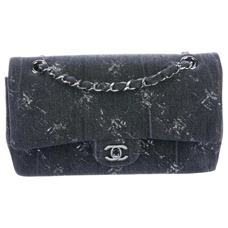 Chanel NEW Gray Fabric Denim Tie Dye Silver Medium Evening Shoulder Flap Bag