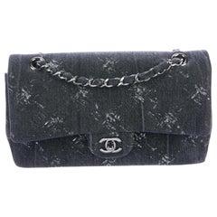 Chanel NEW Gray Fabric Denim Tie Dye Silver Medium Evening Shoulder Flap Bag