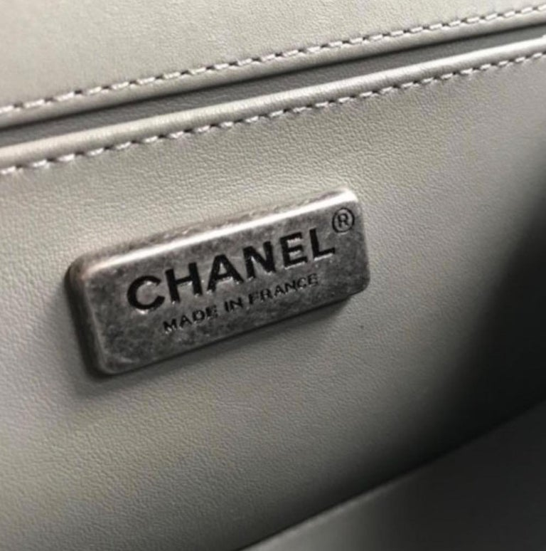 Chanel NEW Gray Lizard Skin Leather Exotic Small Evening Shoulder Flap Bag For Sale 1