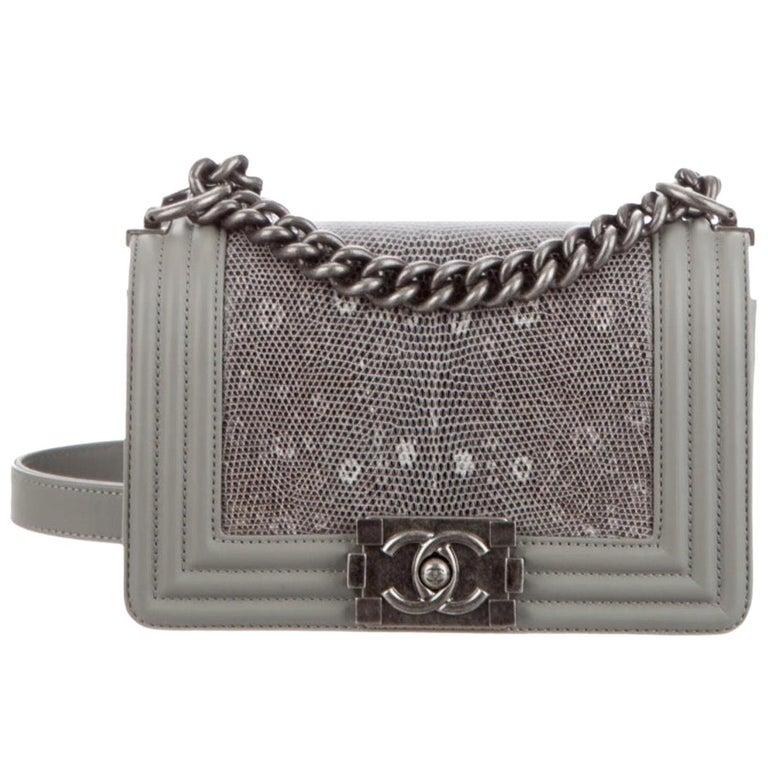 Chanel NEW Gray Lizard Skin Leather Exotic Small Evening Shoulder Flap Bag For Sale