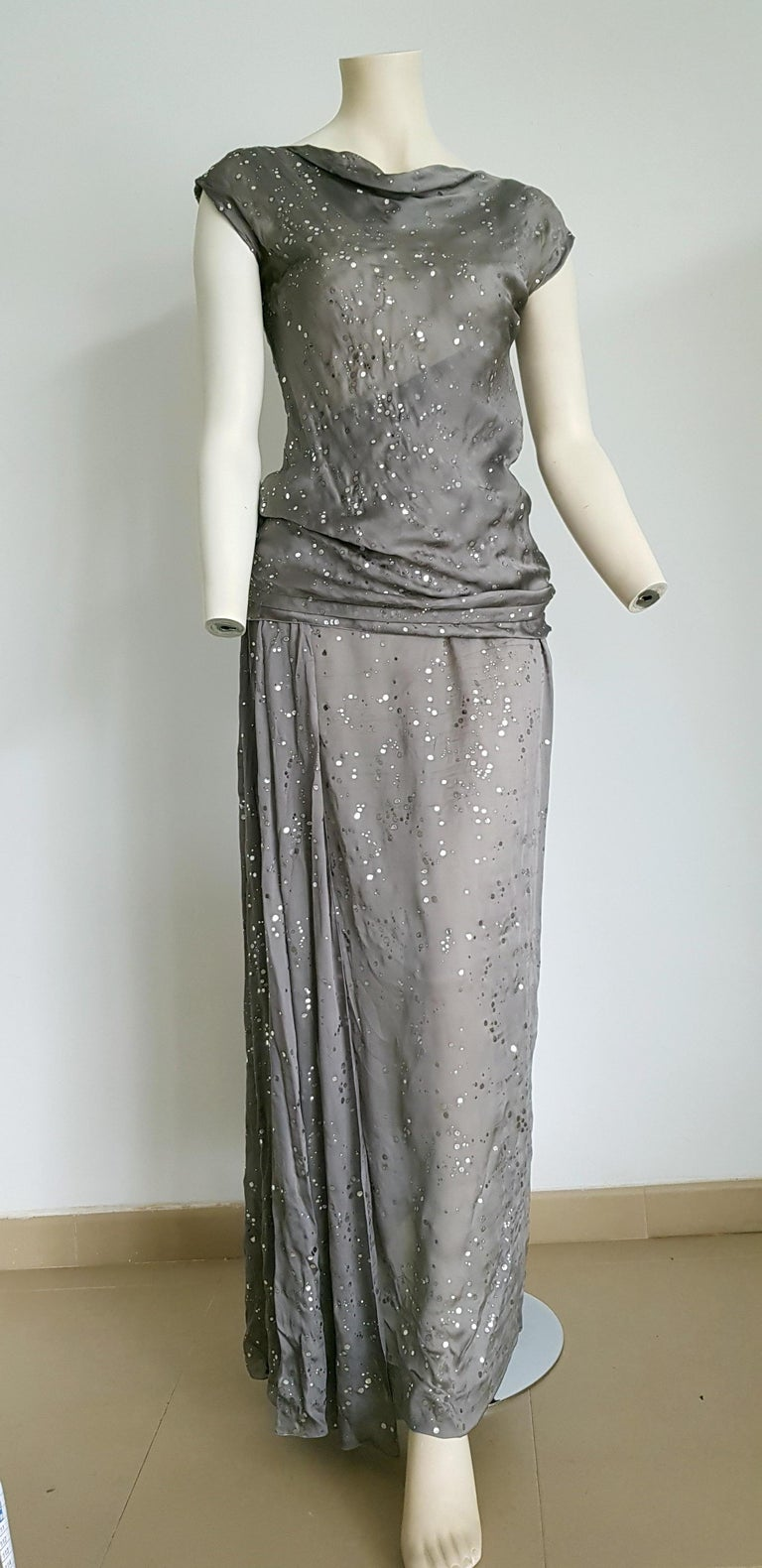 CHANEL Haute Couture, fabric with bright silver application, top with a single shoulder strap, and blouse and skirt. All silk. Gown evening dress - Unworn, New.  SIZE: equivalent to about Small / Medium, please review approx measurements as follows