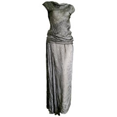 """CHANEL """"New"""" Haute Couture Silver Applications Top Blouse Skirt Silk - Unworn"""