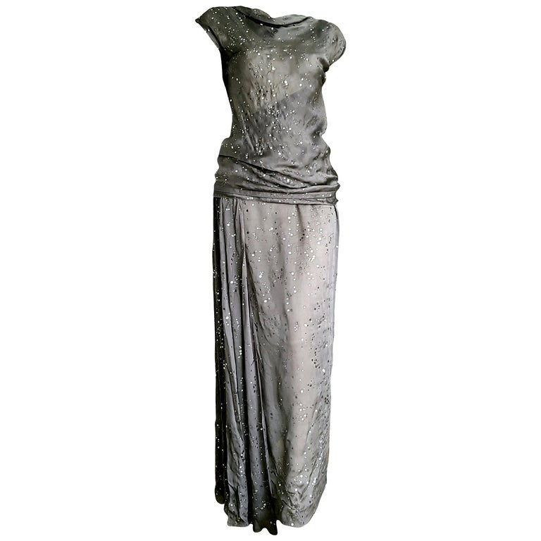 """CHANEL """"New"""" Haute Couture Silver Applications Top Blouse Skirt Silk - Unworn For Sale"""