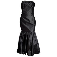 "CHANEL ""New"" Haute Couture Strapless Anthracite Silk Gown - Unworn"