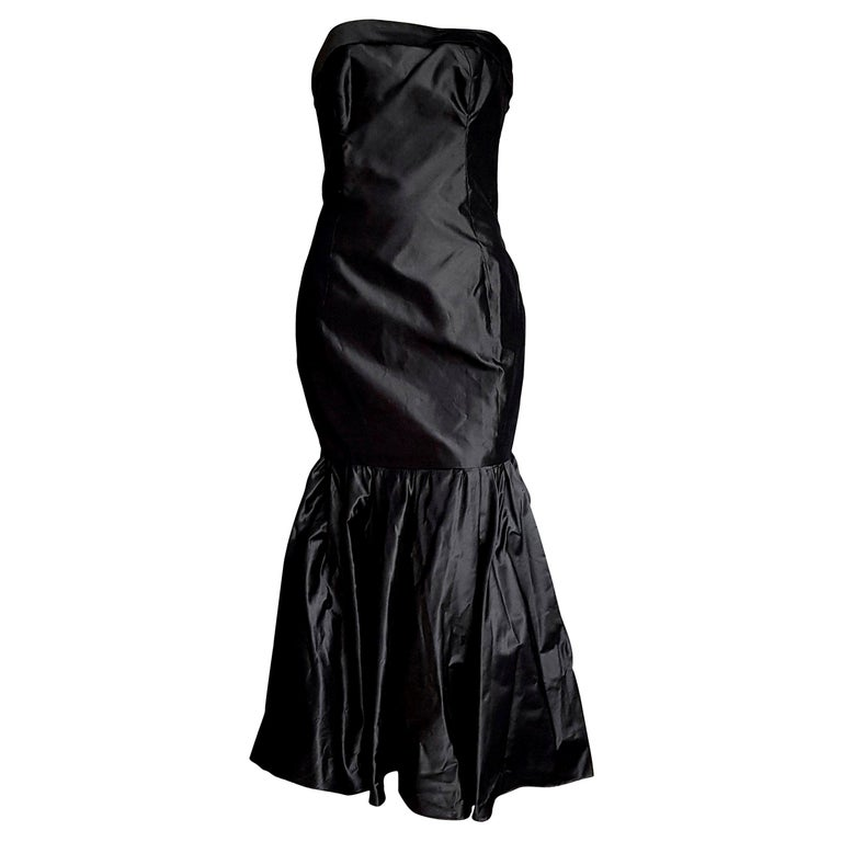 """CHANEL """"New"""" Haute Couture Strapless Anthracite Silk Gown - Unworn For Sale"""