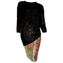 "CHANEL ""New"" Haute Couture Swarovski Sequins on Knit Black Pearl dress - Unworn"