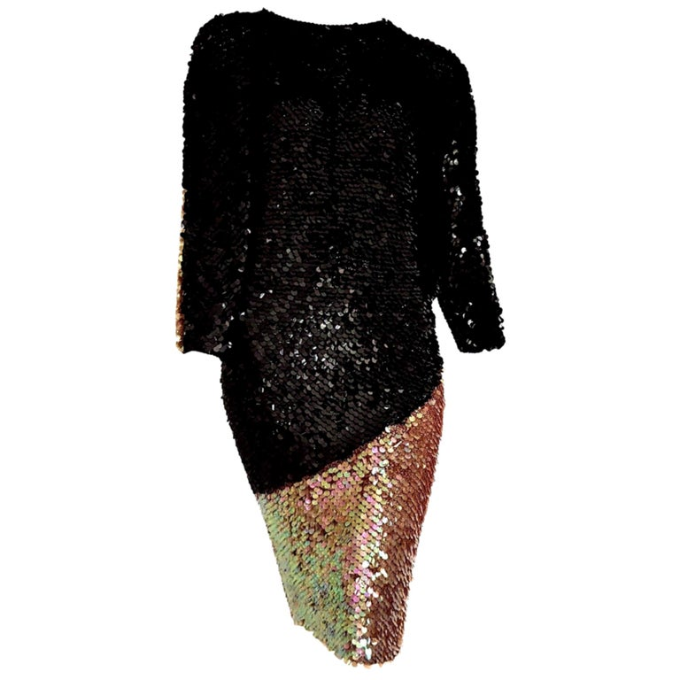 """CHANEL """"New"""" Haute Couture Swarovski Sequins on Knit Black Pearl dress - Unworn For Sale"""
