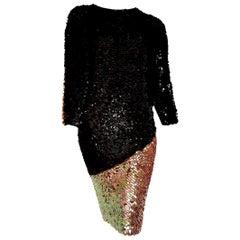 "CHANEL ""New"" Haute Couture Swarovski Sequins on Knit Black Pearl dress - Unworn"