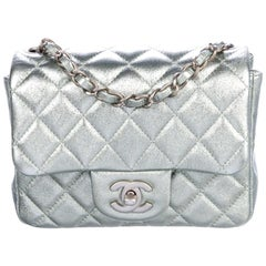 Chanel NEW Iridescent Green Quilted Leather Small Mini Evening Shoulder Flap Bag