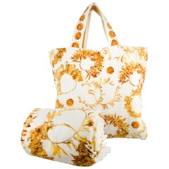 Chanel NEW Ivory Gold Beach Travel Home Terry Cloth 2 in 1 Towel in Tote Bag
