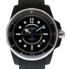 Chanel New J12 H2558 Marine Black Ceramic Rubber Box/Paper/Warranty #CH2