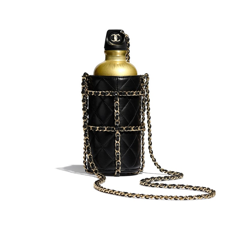 Chanel NEW Limited Edition Black Leather Gold Chain Water Bottle in Box  In New Condition For Sale In Chicago, IL
