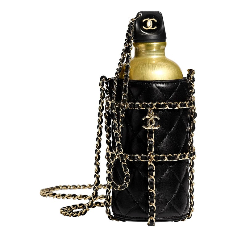 Chanel NEW Limited Edition Black Leather Gold Chain Water Bottle in Box  For Sale