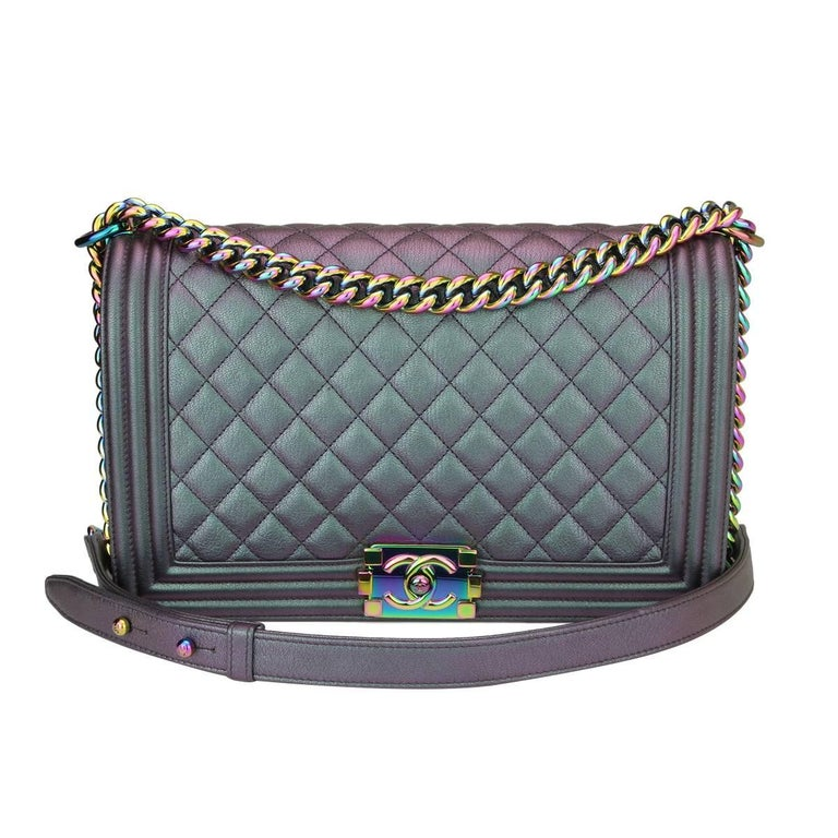 61427b37b86c22 Chanel Medium Boy Iridescent Purple Goatskin with Rainbow Hardware, 2016  For Sale