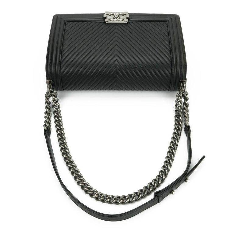 CHANEL New Medium Chevron Boy Bag Black Calfskin with Ruthenium Hardware 2014 For Sale 6