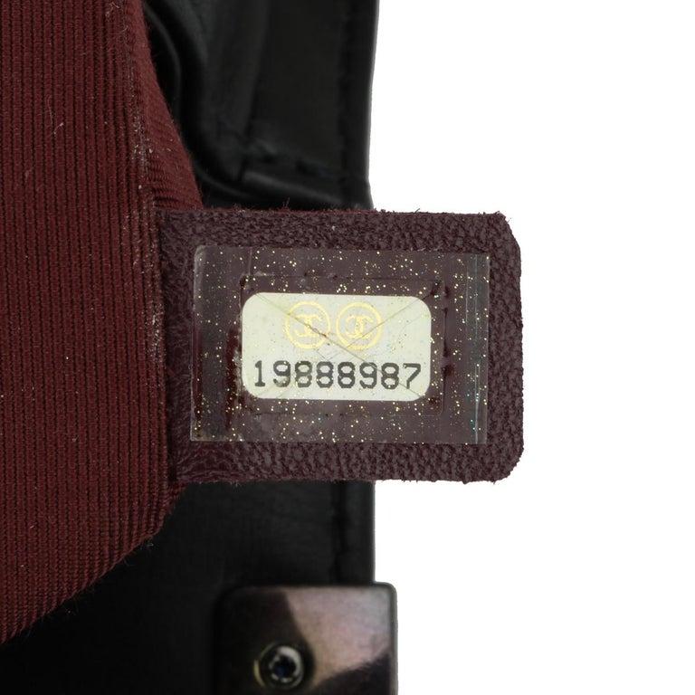 CHANEL New Medium Chevron Boy Bag Black Calfskin with Ruthenium Hardware 2014 For Sale 10