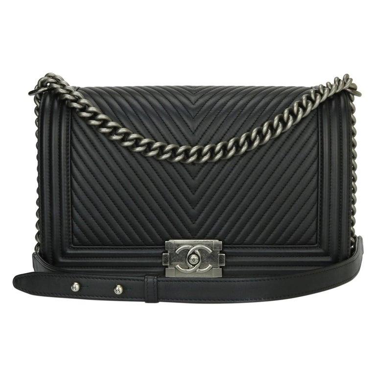 CHANEL New Medium Chevron Boy Bag Black Calfskin with Ruthenium Hardware 2014 For Sale
